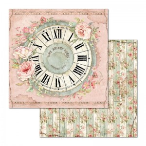 STAMPERIA - papier do scrapbookingu  30x30 - HOUSE OF ROSES / ZEGAR