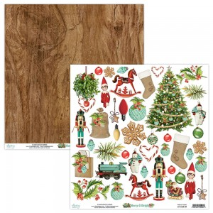 <<<PRZEDSPRZEDAŻ>>> Papier (z elementami do wycinania) Mintay 30x30 - seria MERRY & BRIGHT  – 09